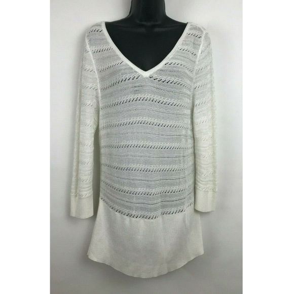 White House Black Market Sweaters - White House Black Market WHBM Open Knit V-neck XL